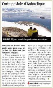 20150110 - Article TDM La Rep - Antarctique