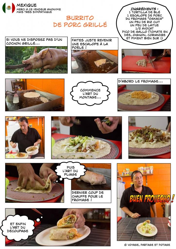 Recette - Mexique - Burrito de porc grillé