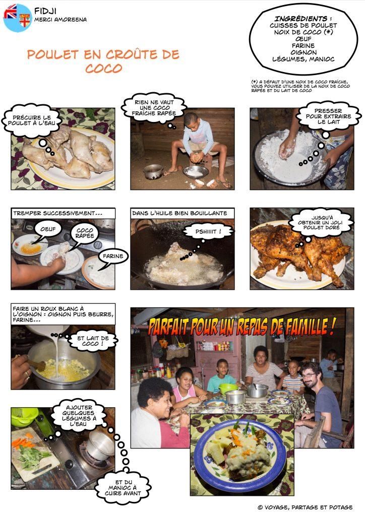 Recette - Fidji - Poulet en croûte de coco